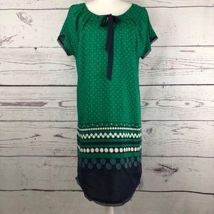 ALLIHOP Drawing Dots Chemise Silk Shift Dress